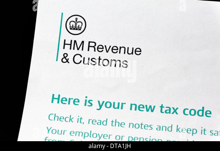 HM Revenue & Customs 'here is your new tax code' letter - Stock Photo