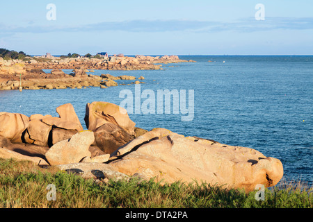 Rock formations at the Sentier des Douaniers hiking trail, Customs Officers' Route, Côte de Granit Rose, Côtes d'Armor - Stock Photo