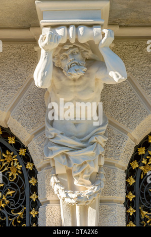 Atlante on the facade of the south side of Schloss Linderhof Palace, Upper Bavaria, Bavaria, Germany - Stock Photo