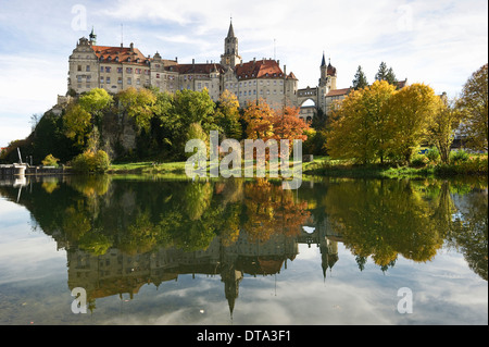Schloss Sigmaringen Castle, Hohenzollern Castle, Sigmaringen, Baden-Württemberg, Germany - Stock Photo