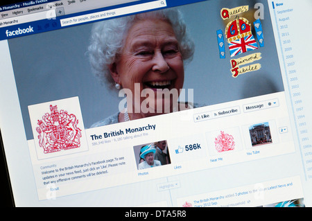 Facebook page of the British Monarchy. - Stock Photo