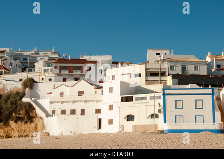beachside villas in Carvoeiro, Portugal - Stock Photo