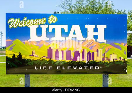 Welcome to Utah sign, USA - Stock Photo