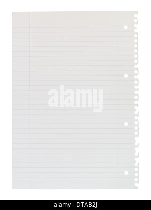 A4 page of notepaper torn from spiral bound lined notepad isolated against a white background. - Stock Photo