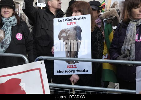 London, UK. 13th Feb, 2014. Wildlife  supporters, including Bill Oddie, gather on Pall Mall to show their passion - Stock Photo