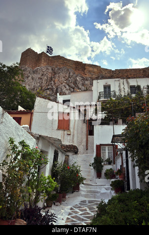 Small houses in the traditional Anafiotika neighborhood under the Acropolis, Athens, Greece. - Stock Photo