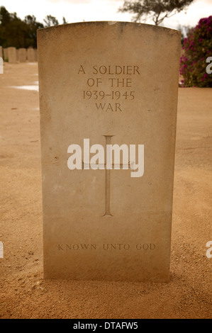 Gravestone at El Alamein Allied Cemetery in Egypt. - Stock Photo