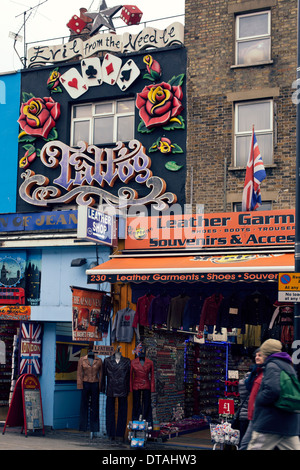 Decorated shop facade in High Street at Camden Market, North London, UK - Stock Photo
