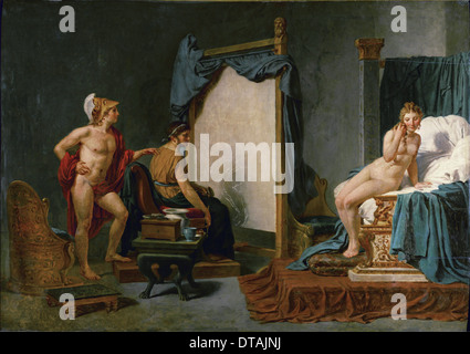 Apelles Painting Campaspe in the Presence of Alexander the Great. Artist: David, Jacques Louis (1748-1825) - Stock Photo