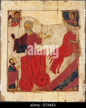 The Prophet Elijah and the Fiery Chariot, 13th century. Artist: Russian icon - Stock Photo