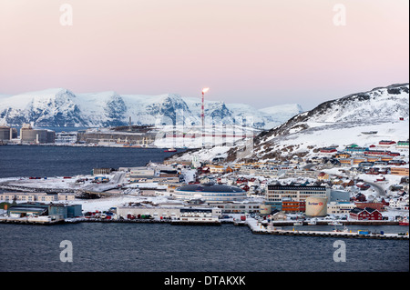 The port of Hammerfest, Norway, the northernmost town in the world, with natural gas plant in the distance - Stock Photo