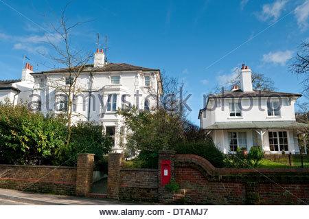 Posh houses, Leatherhead, Surrey, England, UK - Stock Photo
