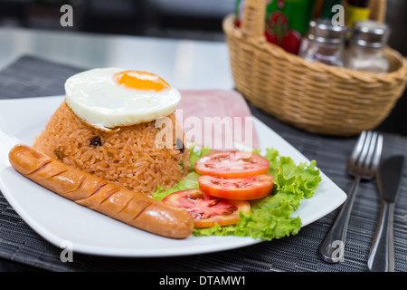 American Fried Rice with egg ham and sausage - Stock Photo