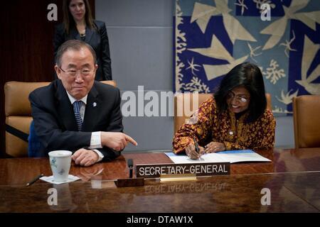 New York, Campact at the UN headquarters in New York. 13th Feb, 2014. United Nations Secretary-General Ban Ki-moon - Stock Photo