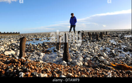 Recent storms and high tides have unearthed old World War 2 sea defences along the beaches at Ferring near Worthing - Stock Photo