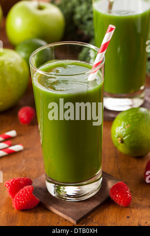Healthy Green Vegetable and Fruit Smoothi Juice with Apple and Greens - Stock Photo