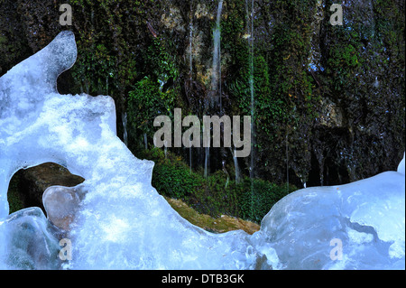 Melting Ice along a moss covered wall in the Maligne canyon of Jasper National Park Alberta Canada - Stock Photo