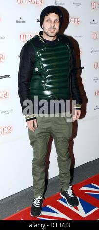 London, UK. 13th Feb 2014. Dynamo celebrities arrives at the Hunger Magazine - issue launch party in London. Photo - Stock Photo