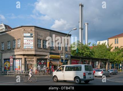 Berlin, Germany, Sage Club and heating plant center, Koepenicker street corner Heinrich-Heine-Strasse - Stock Photo