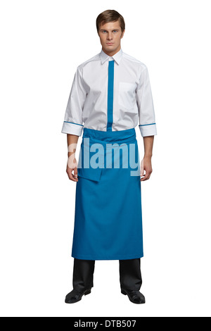 Young man in the form of a waiter or chef, white, red shirt, sunglasses, headdress chef - Stock Photo