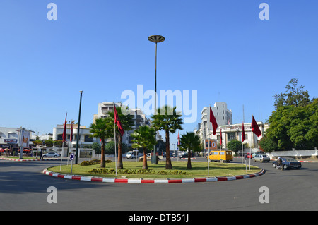 City roundabout, Rabat, Rabat-Salé-Zemmour-Zaer Region, Kingdom of Morocco - Stock Photo