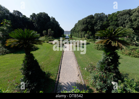 The Margherita or Basket fountain with rear Royal Palace Caserta in background Caserta Campania Italy This - Stock Photo