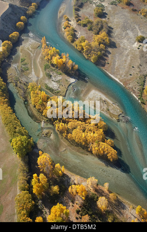 Clutha River near Lake Dunstan, Central Otago, South Island, New Zealand - aerial - Stock Photo