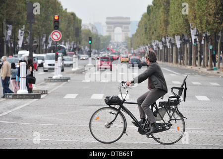 Paris, France, traffic on the Avenue des Champs- Elysees - Stock Photo