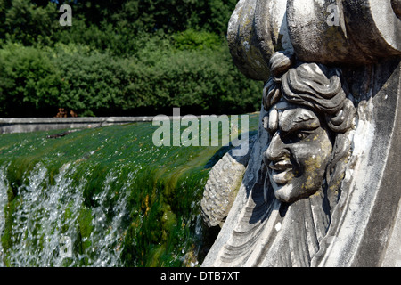 Bust sculpture flanking cascades Fountain Ceres at Royal Palace or Reggia di Caserta Italy 18th century - Stock Photo