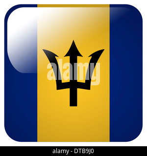 Glossy icon with flag of Barbados - Stock Photo