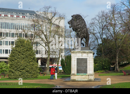 The Maiwand Lion sculpture and war memorial, Forbury Gardens, Reading, Berkshire, England, UK - Stock Photo