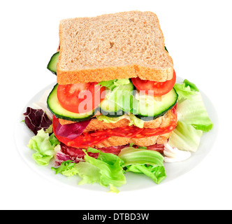 a sandwich with vegetables and spanish chorizo and salchichon, on a white background - Stock Photo