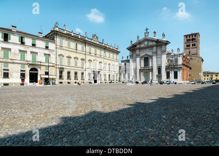 Mantua , Italy, Piazza Sordello , with its cathedral and Palazzo vescovile - Stock Photo