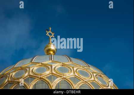 Berlin, Germany , Spire of the New Synagogue in Oranienburger Strasse with jackdaws - Stock Photo