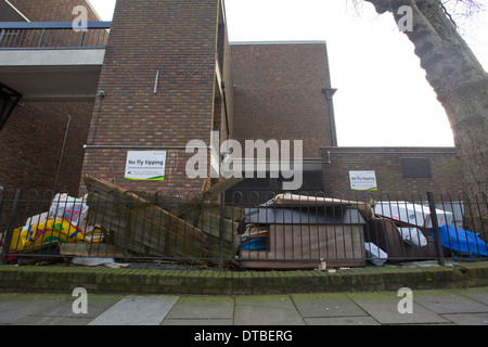 United Kingdom, London : Abandoned goods and rubbish are fly tipped on an estate in Islington, North London.