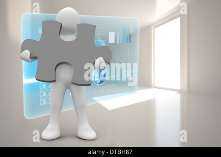 Composite image of white character holding jigsaw piece - Stock Photo