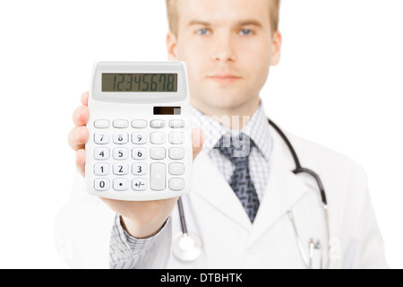 Medical doctor with calculator in his right hand - Stock Photo