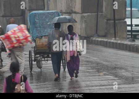 Krasnaya Polyana, Russia. 14th Feb, 2014. Gandhi Maidan, Patna, Bihar, India, February 14th 2014. Unseasonal winter - Stock Photo