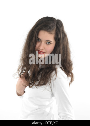 15 year old girl posing in front of camera - Stock Photo