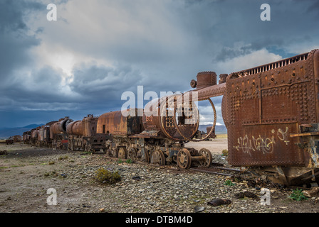 Train cemetery, Uyuni, Bolivia - Stock Photo
