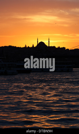 Silhouette of the Fatih Mosque at sunset - Stock Photo