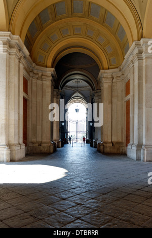 View central gallery Royal Palace Caserta Campania Italy central gallery splendid three nave portico - Stock Photo
