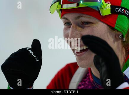 Krasnaya Polyana, Russia. 14th Feb, 2014. Krasnaya Polyana, Russia. 14th Feb, 2014. Belarusian Darya Domracheva - Stock Photo