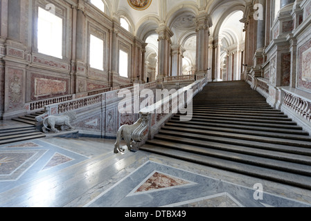 Caserta. Campania. Italy. View of the rear façade of the Royal Palace or Reggia di Caserta. - Stock Photo