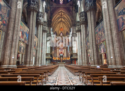 MILAN, ITALY - SEPTEMBER 16, 2011: Main nave of Duomo or cathedral. - Stock Photo