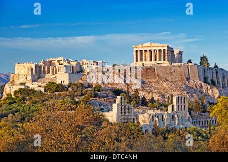 The Parthenon (447 B.C.) on the Athenian Acropolis, Greece - Stock Photo