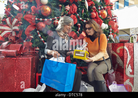 Women with Christmas shopping - Stock Photo