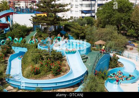 Summer water park attraction Mijas Malaga Andalusia Spain atraccion parque acuatico andalucia españa - Stock Photo