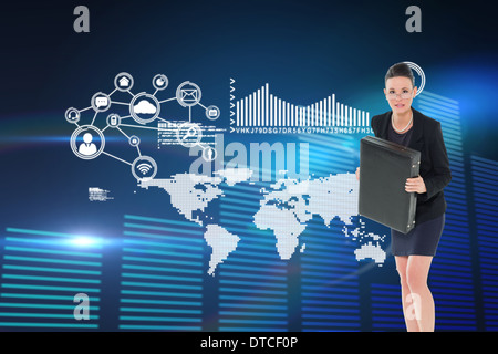 Composite image of elegant businesswoman in suit carrying briefcase - Stock Photo