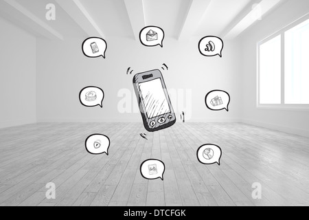 Composite image of smartphone applications doodle - Stock Photo